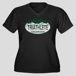 Triathlete Oval Colo License Plate Women's Plus Si