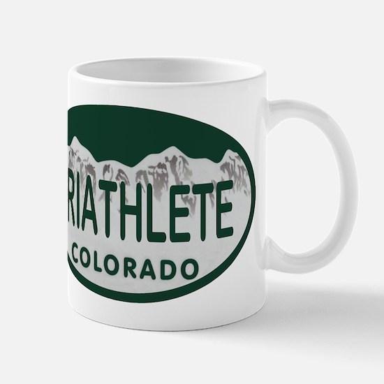 Triathlete Oval Colo License Plate Mug