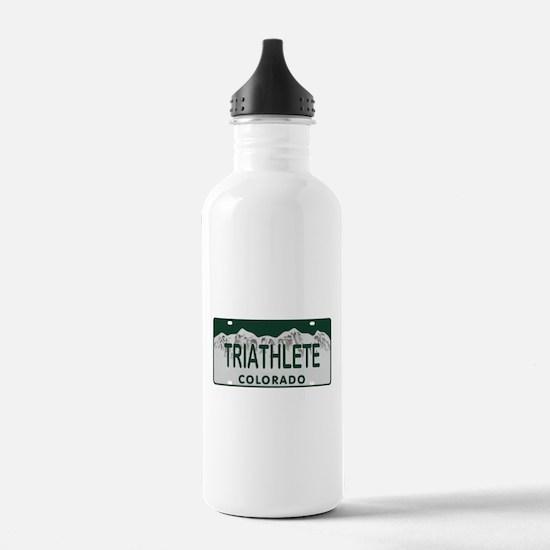 Triathlete Colo License Plate Water Bottle