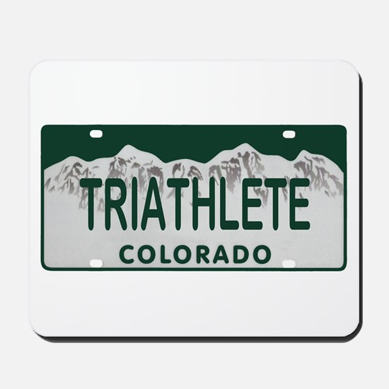 Triathlete Colo License Plate Mousepad