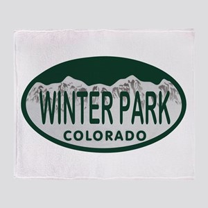Winterpark Colo License Plate Throw Blanket