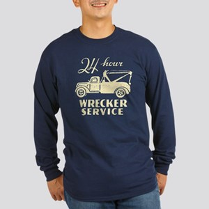 Retro Wrecking Truck Long Sleeve Dark T-Shirt