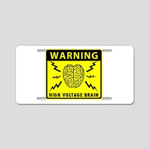 High Voltage Brain Aluminum License Plate