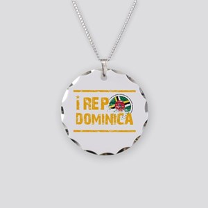 I rep Dominican Necklace Circle Charm