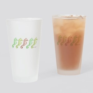 5 green & beige seahorses in a row Drinking Glass