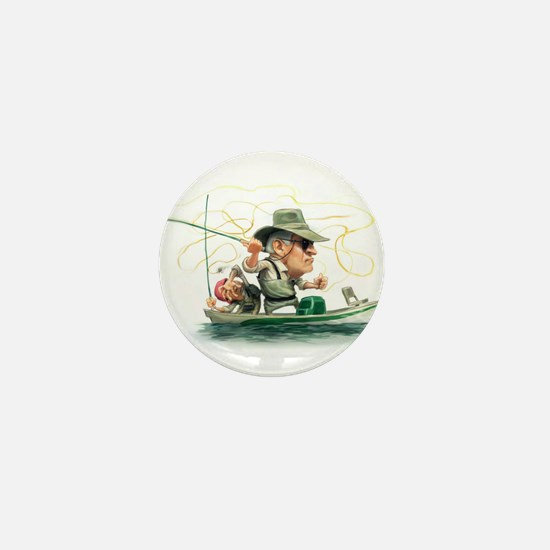 Funny Fisherman Mini Button