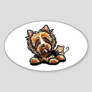 Norwich Terrier Cartoon Sticker (Oval)