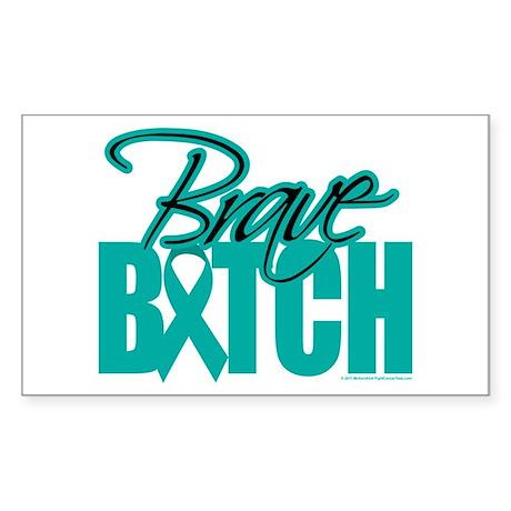 Brave Bitch Cervical Cancer Sticker (Rectangle)