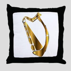 Golden Irish Harp Isolated Throw Pillow
