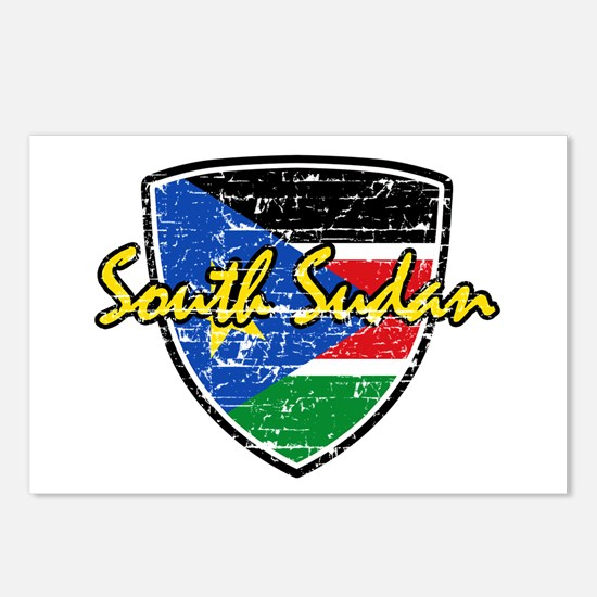 South Sudan Flag Shield Postcards (Package of 8)