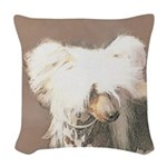 Chinese Crested (Hairless) Woven Throw Pillow