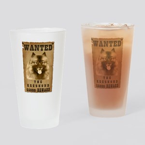 """""""Wanted"""" Keeshond Drinking Glass"""