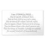 Canadian Pride Strong & Free Sticker (rectangl