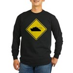 Caution Tank Crossing Long Sleeve Dark T-Shirt