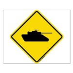 Caution Tank Crossing Small Poster