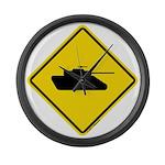 Caution Tank Crossing Large Wall Clock