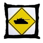 Caution Tank Crossing Throw Pillow