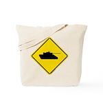 Caution Tank Crossing Tote Bag