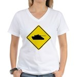 Caution Tank Crossing Women's V-Neck T-Shirt