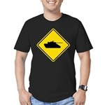 Caution Tank Crossing Men's Fitted T-Shirt (dark)