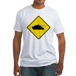 Caution Tank Crossing Fitted T-Shirt