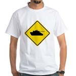 Caution Tank Crossing White T-Shirt
