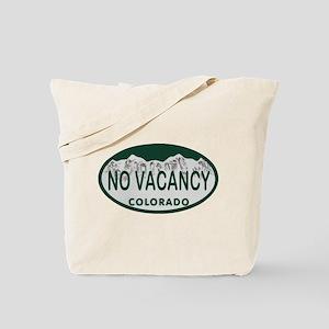 No Vacancy Colo License Plate Tote Bag