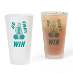 Teal GO FIGHT WIN Drinking Glass