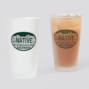 Not a Native Colo License Plate Drinking Glass