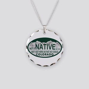 Not a Native Colo License Plate Necklace Circle Ch