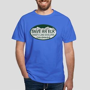 Save an Elk Colo License Plate Dark T-Shirt