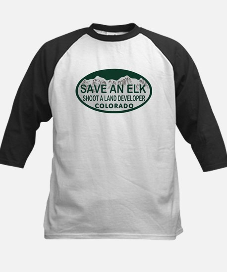 Save an Elk Colo License Plate Kids Baseball Jerse