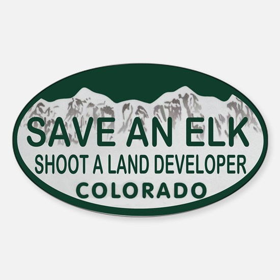 Save an Elk Colo License Plate Sticker (Oval)