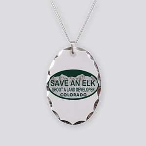 Save an Elk Colo License Plate Necklace Oval Charm