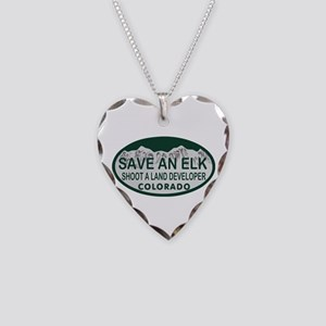Save an Elk Colo License Plate Necklace Heart Char