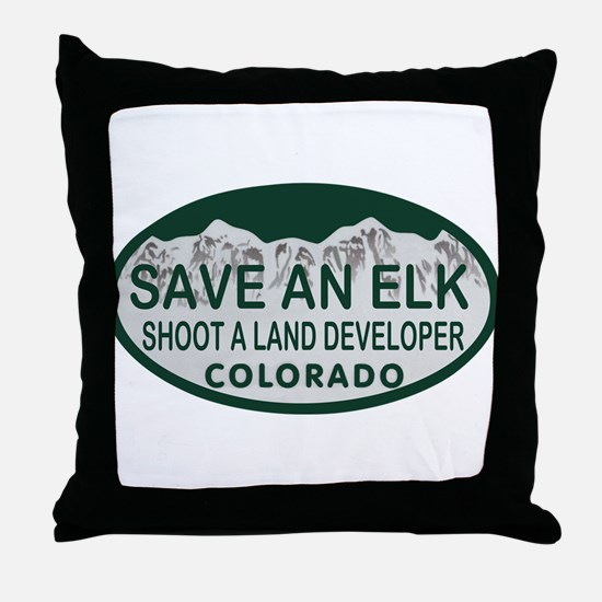 Save an Elk Colo License Plate Throw Pillow