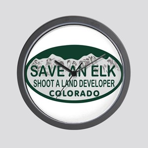 Save an Elk Colo License Plate Wall Clock