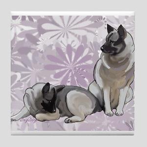 Norwegian Elkhounds Garden Tile Coaster
