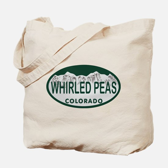Whirled Peas Colo License Plate Tote Bag
