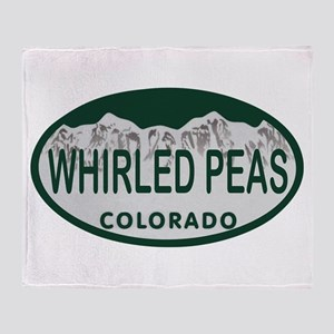 Whirled Peas Colo License Plate Throw Blanket