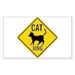 Caution Cat Crossing Sticker (Rectangle)