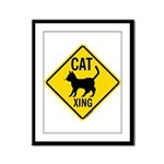 Caution Cat Crossing Framed Panel Print