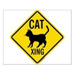 Caution Cat Crossing Small Poster