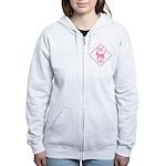 Caution Cat Xing (Pink) Women's Zip Hoodie