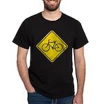 Caution Bike Rider Sign Dark T-Shirt