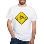 Caution Bike Rider Sign White T-Shirt