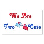 Two Cute (red/blue) Rectangle Sticker