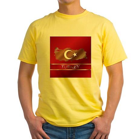Turkey Map and Turkish Flag Yellow T-Shirt