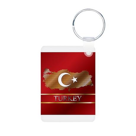 Turkey Map and Turkish Flag Aluminum Photo Keychai