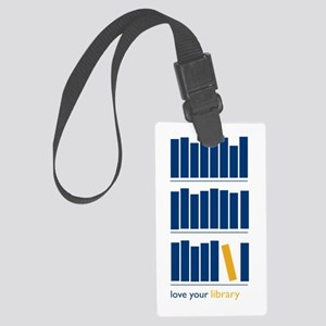 Love Your Library (blue art) Large Luggage Tag